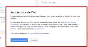 associer le site web à la page Google +