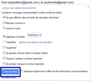 creer un filtre gmail