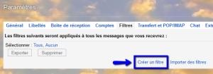 créer un filtre gmail