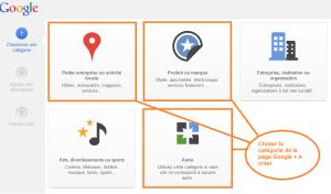 catégories des pages Google +