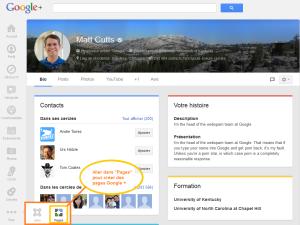 créer des pages Google +