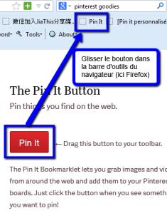 glisser le bouton Pin it dans le navigateur
