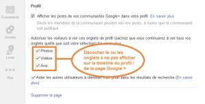 décocher les onglets de Google +