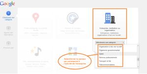sélectionner le secteur d'activité de Google +