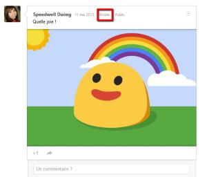 Humeurs de Google + version mobile
