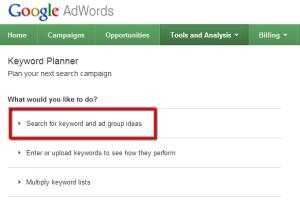 Nouveau générateur de mots-clés Adwords Keyword Planner