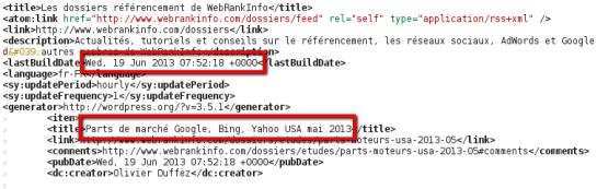 Logiciel de veille automatique: flux RSS webrankinfo