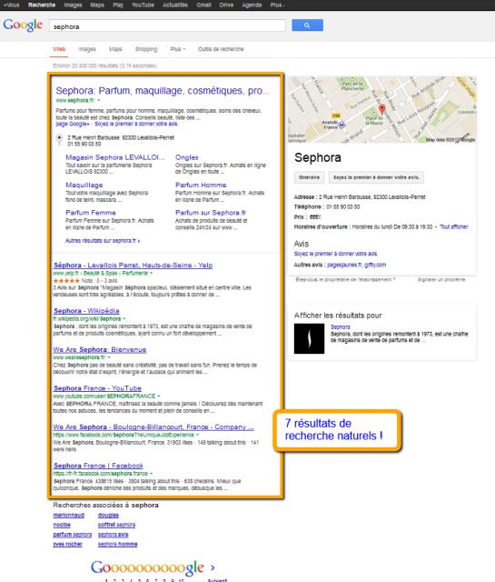 Sephora : résultats de recherche limités à 7 sur Google | AUTOVEILLE