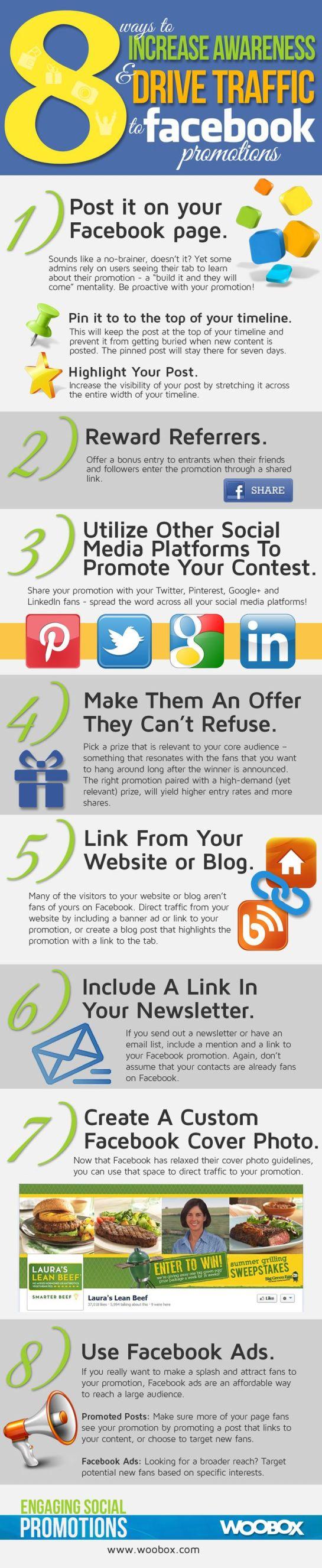 Logiciel de veille : Infographie SMO sur 8 étapes pour augmenter la visibilité d'une promotion sur Facebook