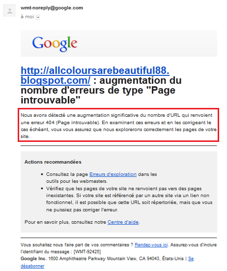 Mail alerte de Google Webmaster Tools Pages erreurs 404 | Tests AUTOVEILLE