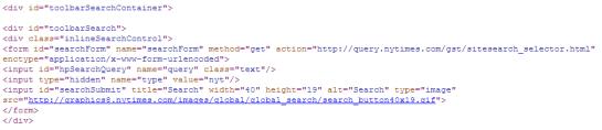 Barre de recherche interne : code html pour créer la barre