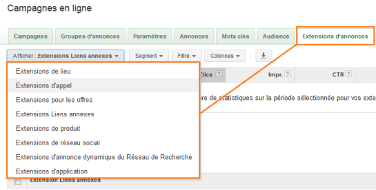Extension d'annonces Adwords