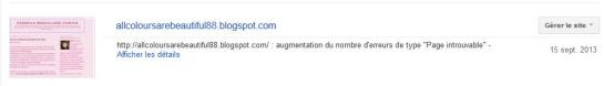 Google Webmaster Tools : pages erreurs en augmentation
