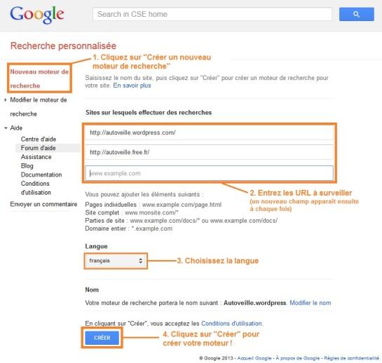 Création moteur de recherche personnalisé - Google