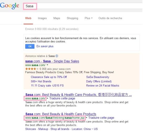 Sasa résultats de recherche SEO brand