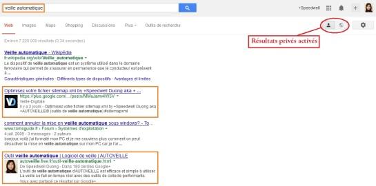 Google SERP résultats privés activés