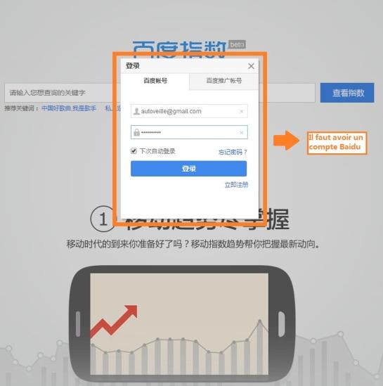 Compte sur Baidu Index - AUTOVEILLE