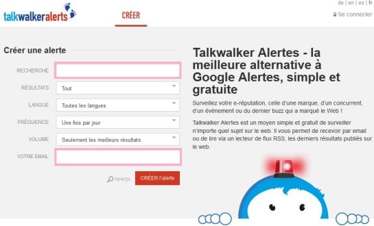 Créer alertes avec Talkwalker - AUTOVEILLE
