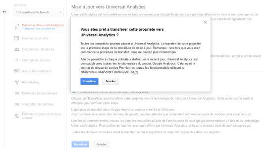 Universal Analytics Tutoriel pour le transfert - AUTOVEILLE