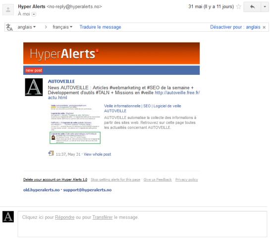Mail alerte de Hyper Alerts - AUTOVEILLE