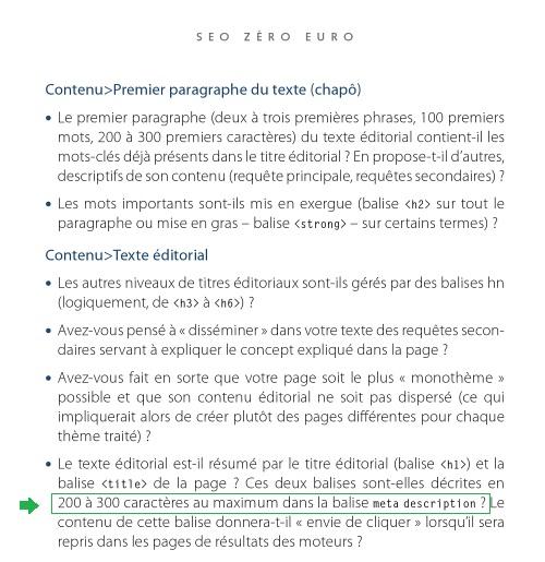 SEO Zero Euro - limite caractères meta description - AUTOVEILLE