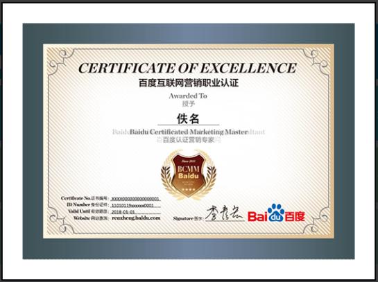 Certificat Search Expert Baidu - SEO - AUTOVEILLE