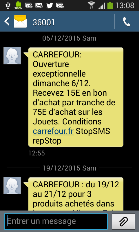 Exemple de SMS marketing - AUTOVEILLE