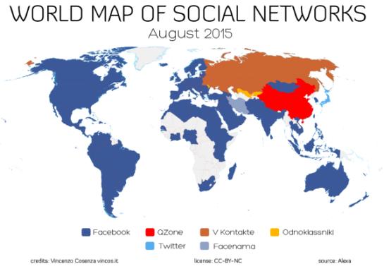 Carte des utilisateurs des réseaux sociaux dans le monde en août 2015 - AUTOVEILLE