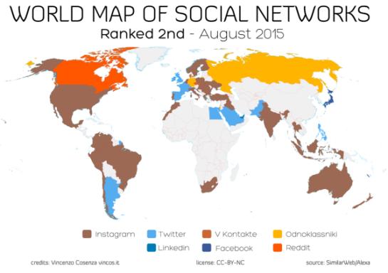 Carte des utilisateurs des réseaux sociaux dans le monde en 2015 - AUTOVEILLE