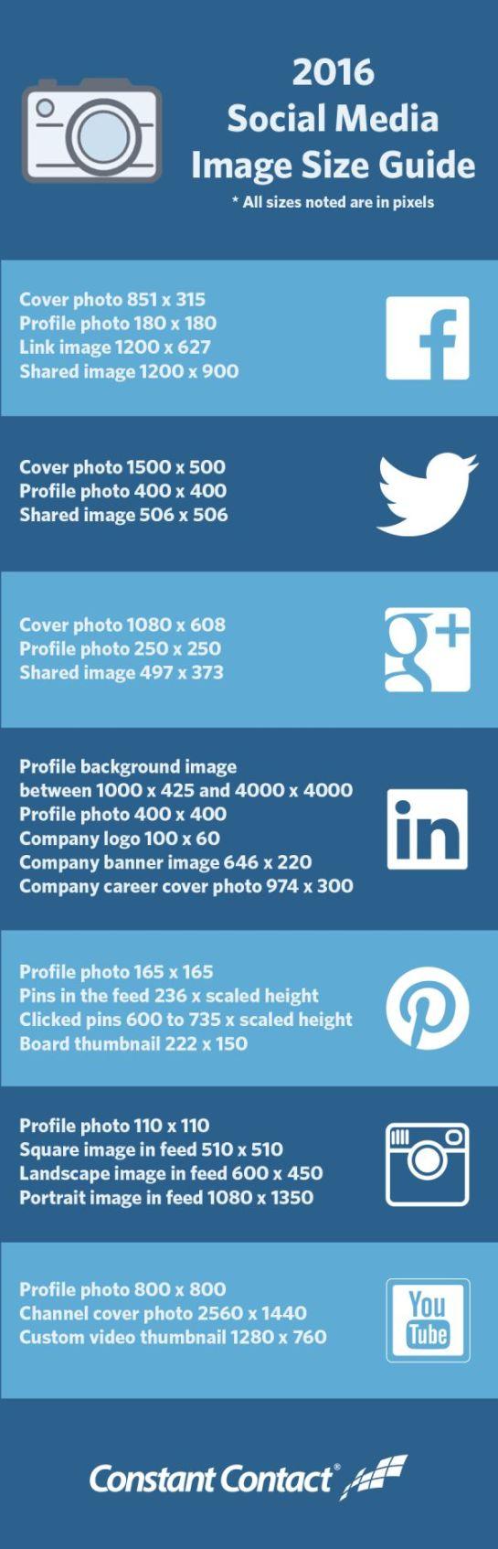 Guide des tailles d'images des réseaux sociaux SMO en 2016 - AUTOVEILLE