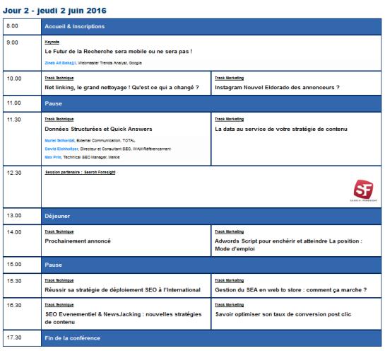 SMX France 2016 - Programme de la 2e journée - AUTOVEILLE