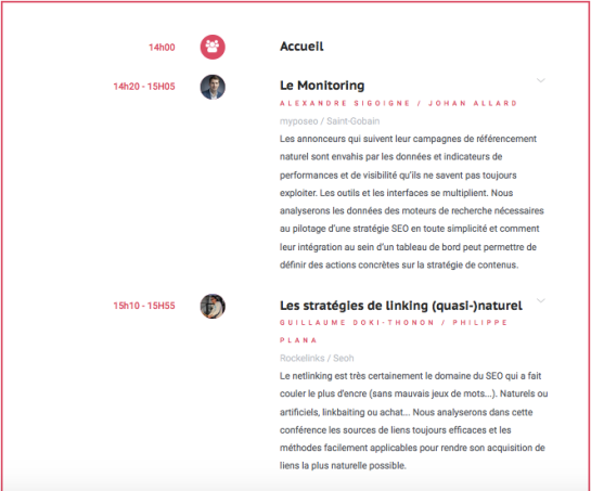 Programme de l'événement Search Marketing de We Love SEO - AUTOVEILLE