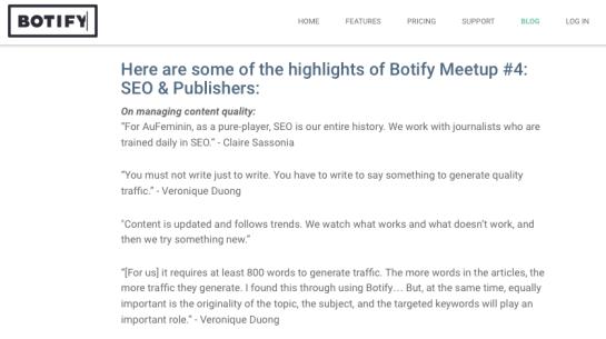 Citations de Véronique Duong par Botify lors du meetup SEO sur la qualité des contenus