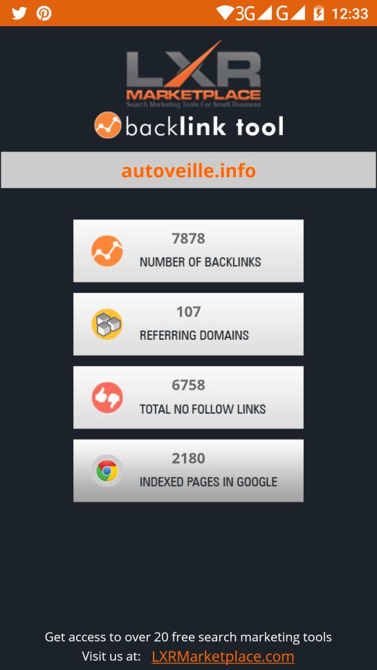 Outil SEO : vérification de liens externes avec SEO backlink TOOL - AUTOVEILLE référencement