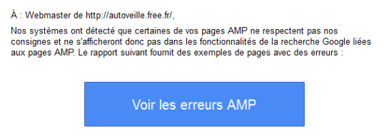 Search Console et page AMP - test SEO - AUTOVEILLE